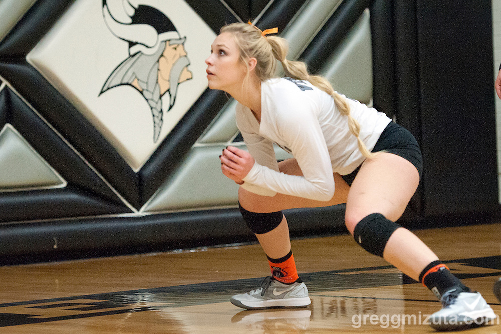 Vale senior Kiara Cooper warms up before the start of the 2015 OSAA 3A Volleyball State Championship, Round 1, Vale - St. Mary's at  Vale High School, Vale, Oregon. October 31, 2015.<br /> <br /> Vale defeated St. Mary's of Medford in three games 25-10,  25-8, 25-13, improving their season record to 24-2.