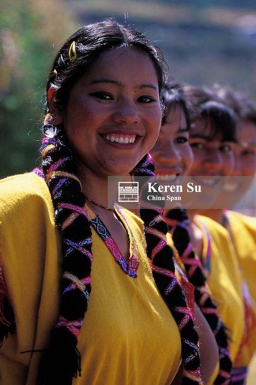 Portrait of Indian girls, Cuzco, Peru