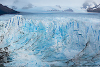 The jagged peaks of Perito Moreno Glacier highlight this image of the massive valley flow. El Calafate, Argentina.