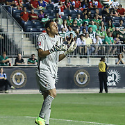 Costa Rica Goalkeepers Keylor Navas (1) catches the ball the second half of inaugural freedom cup between Ireland and Costa Rica Friday. June. 6, 2014 at PPL Park in Chester PA.