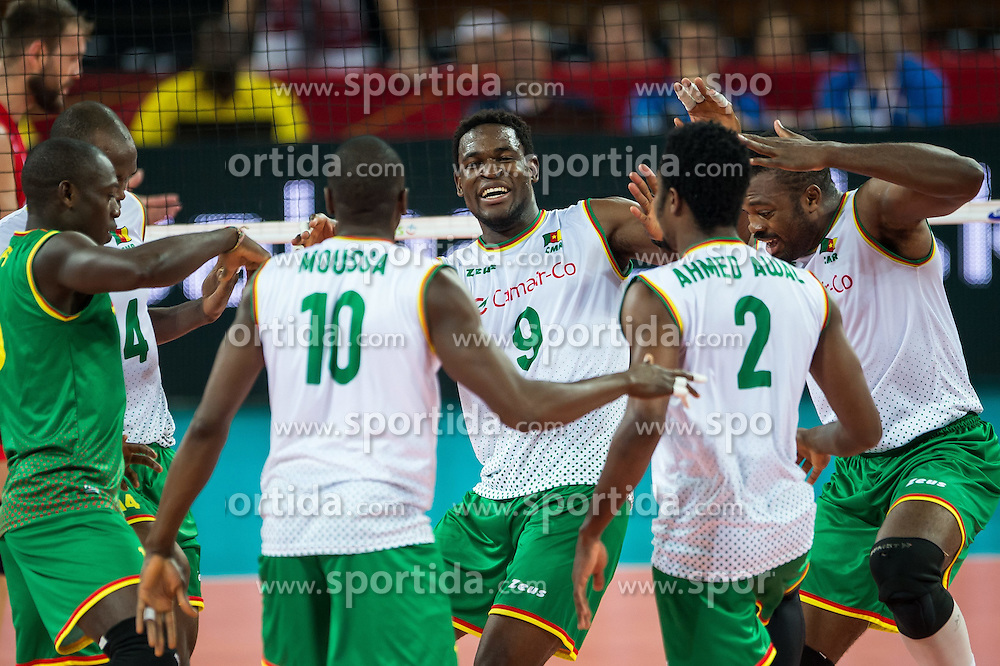 07.09.2014, Centennial Hall, Breslau, POL, FIVB WM, Serbien vs Kamerun, Gruppe A, im Bild Joseph Herve Kofane Boyomo cameroon #9 radosc // Joseph Herve Kofane Boyomo cameroon #9 gladness // during the FIVB Volleyball Men's World Championships Pool A Match beween Serbia and Cameroon at the Centennial Hall in Breslau, Poland on 2014/09/07. EXPA Pictures &copy; 2014, PhotoCredit: EXPA/ Newspix/ Sebastian Borowski<br /> <br /> *****ATTENTION - for AUT, SLO, CRO, SRB, BIH, MAZ, TUR, SUI, SWE only*****