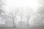 Morning fog obscures houses on Friday, March 23, 2012 in Webster City, IA.