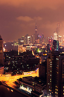 night view from top of high rise in Shanghai China