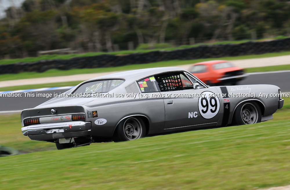 Les Walmsley - Group Nc - Dodge Charger R/T.Historic Motorsport Racing - Phillip Island Classic.18th March 2011.Phillip Island Racetrack, Phillip Island, Victoria.(C) Joel Strickland Photographics.Use information: This image is intended for Editorial use only (e.g. news or commentary, print or electronic). Any commercial or promotional use requires additional clearance.