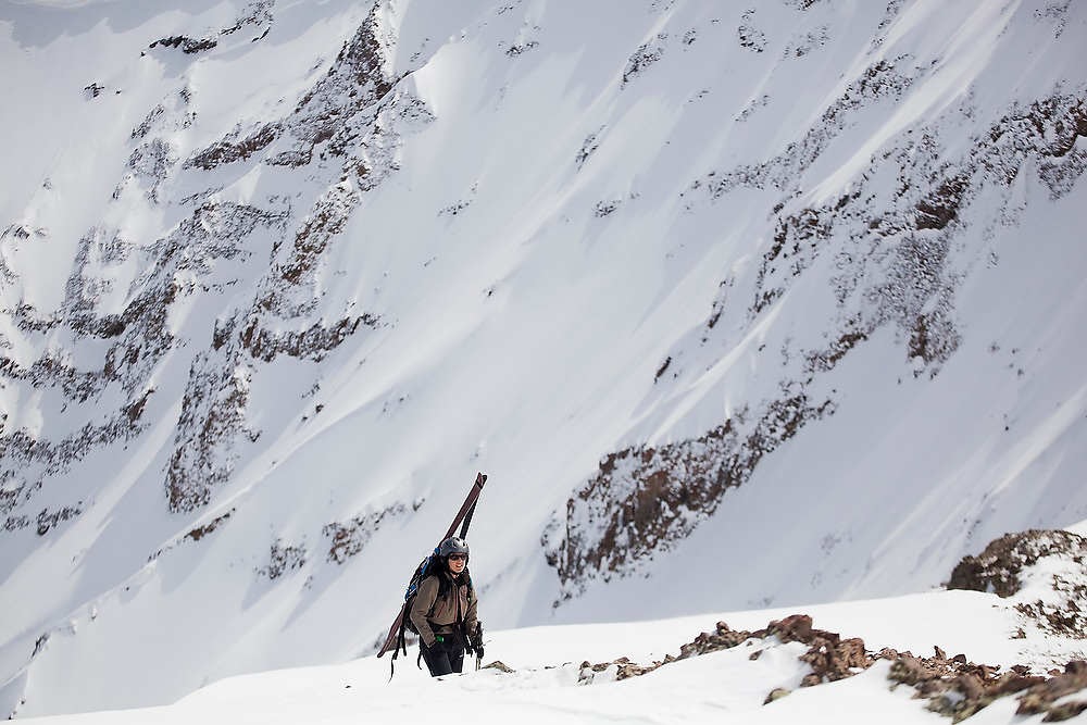 Backcountry skier Meaghan Daly climbs to the summit of Hayden Peak, San Juan Mountains, Colorado.