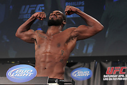 Atlanta, GA - April 20, 2012: UFC Light Heavyweight Champion Jon Jones during the weigh-in for UFC 145 at the Fox Theatre in Atlanta, Georgia.