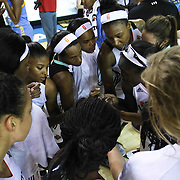 New York Liberty players huddle together prior a WNBA preseason basketball game between the Chicago Sky and the New York Liberty Friday, May. 22, 2015 at The Bob Carpenter Sports Convocation Center in Newark, DEL
