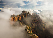Clouds form on Wotans Throne. Viewed from Cape Royal on the North Rim of Grand Canyon National Park in Arizona.