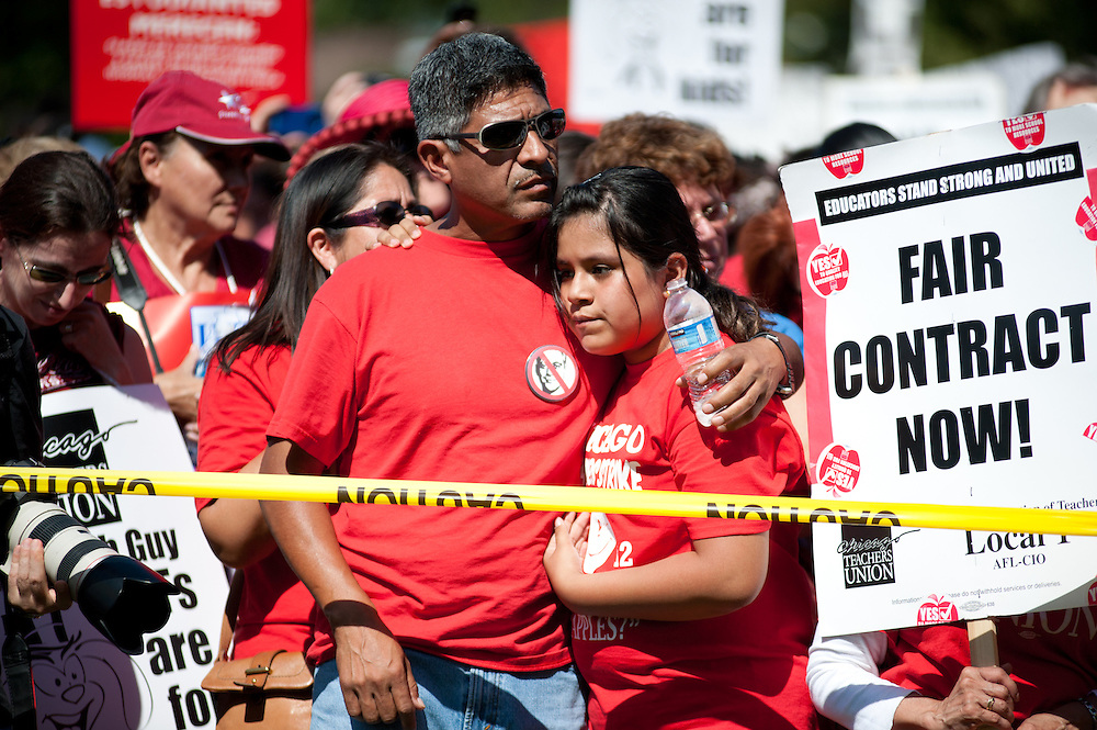 Students and parents rally with Chicago Teachers Union members in Union Park on September 15, 2012.