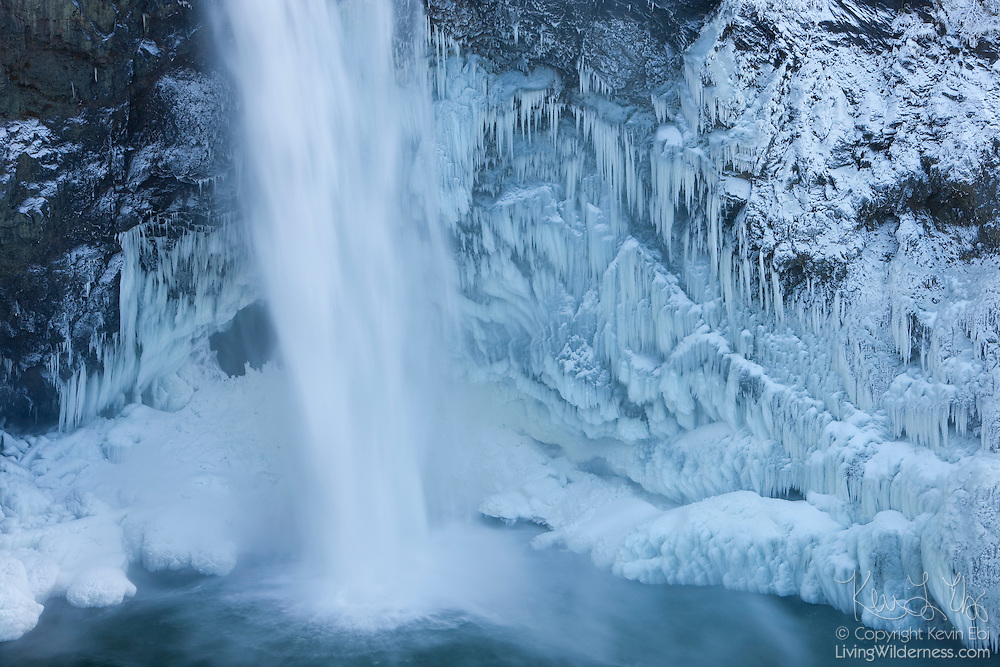 Thick ice forms at the base of Snoqualmie Falls, Washington, after several days of record-low temperatures in December, 2009. The 268 ft (82 m) tall waterfall is located on the Snoqualmie River near the town of Snoqualmie.