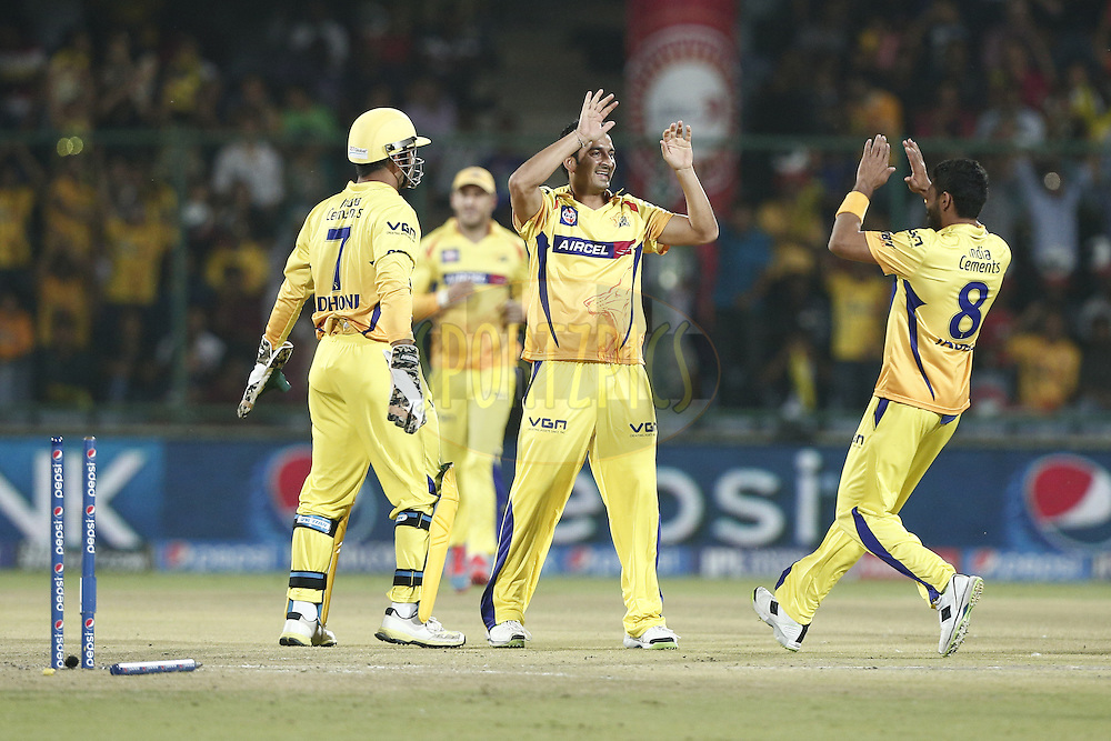 M S Dhoni , Mohit Sharma of The Chennai Superkings celebrates the wicket of Kevin Pietersen captain of of the Delhi Daredevils during match 26 of the Pepsi Indian Premier League Season 2014 between the Delhi Daredevils and the Chennai Superkings held at the Ferozeshah Kotla cricket stadium, Delhi, India on the 5th May  2014<br /> <br /> Photo by Deepak Malik / IPL / SPORTZPICS<br /> <br /> <br /> <br /> Image use subject to terms and conditions which can be found here:  http://sportzpics.photoshelter.com/gallery/Pepsi-IPL-Image-terms-and-conditions/G00004VW1IVJ.gB0/C0000TScjhBM6ikg