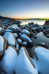 """Tahoe Boulders at Sunset 6"" - Photograph of snow covered boulders at sunset, shot near Hidden Beach, Lake Tahoe."