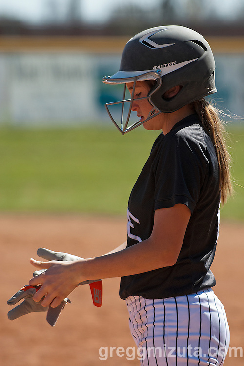 Vale freshman Grace Reever on first during the Vale Payette softball game, March 22, 2014 at Payette, Idaho.
