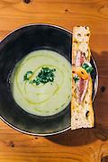 Cold cucumber soup with seared mackerel at A Terra restuarant at Praia Verde Boutique Hotel. Castro Marim, Alentejo