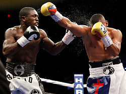 May 30, 2009; Hollywood, FL, USA; WBC Welterweight Champion Andre Berto and challenger Juan Urango trade punches during their 12 round bout at Hard Rock Live at the Seminole Hard Rock Hotel and Casino in Hollywood, FL.