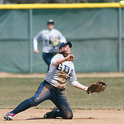 Goldey-Beacom Outfielders Madison Newhouser (8) throws the ball from her knees to first base in the third inning of game #1 of NCAA Central Atlantic Collegiate Conference (doubleheader) against Post University Saturday, March 30, 2013, at Nancy Churchmann Sawin Athletic Field in Wilmington Delaware.