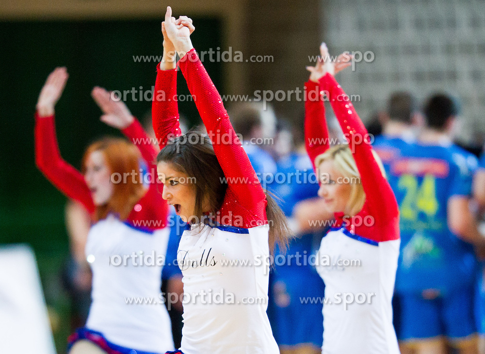 Cheerleaders perform during handball match between RK Cimos Koper and RK Celje Pivovarna Lasko in 26th Round of 1st NLB Leasing league 2012/13 on April 14, 2013 in Arena Bonifika, Koper, Slovenia. Celje PL defeated Cimos Koper 36-31. (Photo By Vid Ponikvar / Sportida)