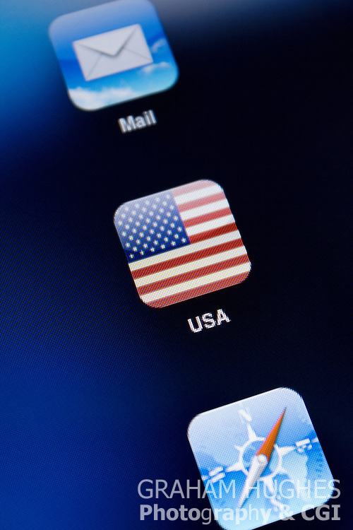 USA Flag App Icon on iPad 2 touch screen.