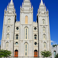 Jesus Christ and Latter-day Saints Temple and Reflection Pool in Salt Lake City, Utah<br /> In 1847, Brigham Young led almost 70,000 Mormons on an exodus from Illinois to the Great Basin. When he arrived at present-day Salt Lake City, he declared, &ldquo;Here we will build a temple to our God.&rdquo; That proclamation grew into Temple Square. The three most impressive buildings dedicated to The Church of Jesus Christ and Latter-day Saints are the Salt Lake Tabernacle, the Assembly Hall and the Salt Lake Temple seen here in a reflection pool. This architectural gem opened in 1893 after forty years of construction.