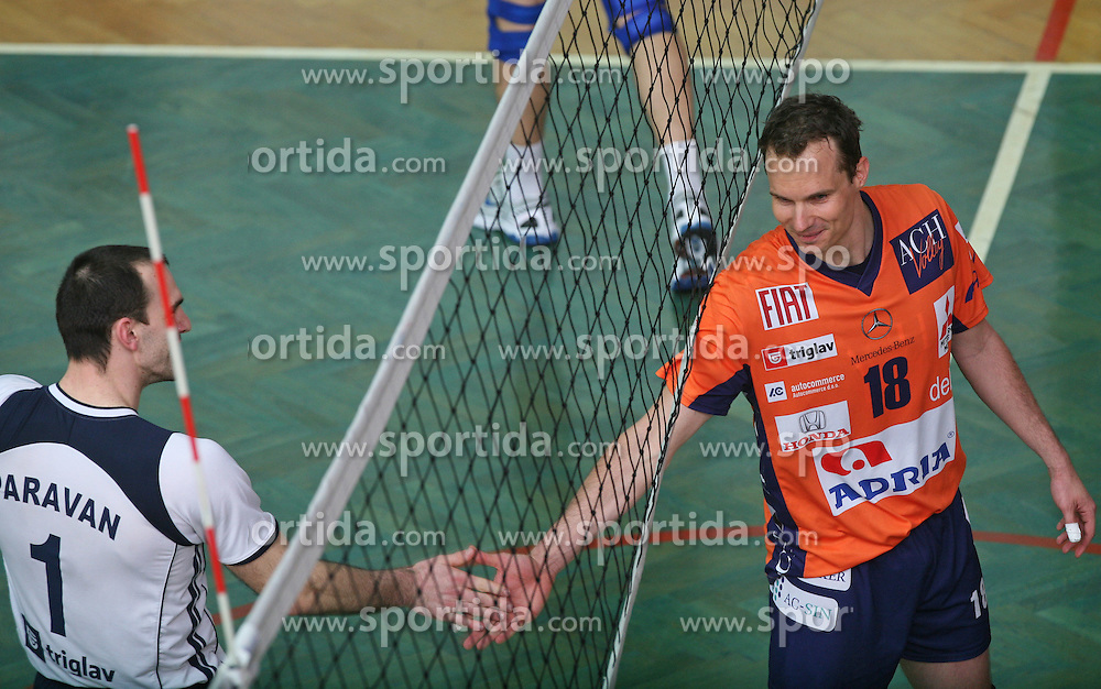 at 4th and final match of Slovenian Voleyball  Championship  between OK Salonit Anhovo (Kanal) and ACH Volley (from Bled), on April 23, 2008, in Kanal, Slovenia. The match was won by ACH Volley (3:1) and it became Slovenian Championship Winner. (Photo by Vid Ponikvar / Sportal Images)/ Sportida)
