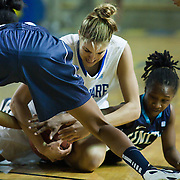 01/12/12 Newark DE: Delaware Junior Forward #11 Elena Delle Donne fights for the loose ball as UNCW Junior Guard Jessica Freeman #24 and UNCW Sophomore Guard Alisha Andrews #4 also attempt to retrieve ball during a Colonial Athletic Association Conference Basketball Game against  The University of North Carolina Wilmington Seahawks Thursday, Jan. 12, 2012 at the Bob Carpenter Center in Newark Delaware...No. 18 Delaware (13-1, 4-0) defeated University of North Carolina Wilmington (8-7, 1-3) 69-37 continuing their best start in school history behind Elena Delle Donne 23 point scoring point effort.