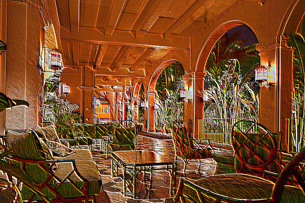 3-D of arches on the lanai at the Royal Hawaiian hotel, Waikiki Beach, Honolulu, Hawaii