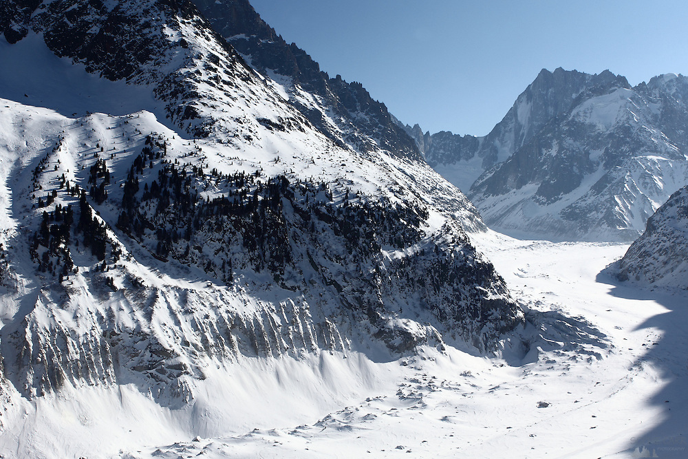 The Mer de Glace glacier sweeps down the valley from Mont Blanc, in the French Alps, near Chamonix