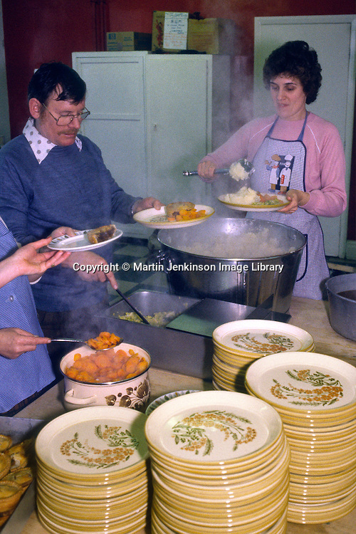 Kitchen serving food to striking miners and their families during the 1984 miners strike....