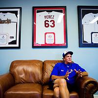 BRADENTON, FL -- May 21, 2012 --  Former big leaguer and IMG Baseball Academy Director Ken Bolek talks about his players at IMG Baseball Academy in Bradenton, Fla., on Monday, May 21, 2012.  (PHOTO/CHIP LITHERLAND)