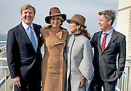 18-3-2015 COPENHAGEN - King Willem-Alexander and Queen Maxima of The Netherlands and Crown Prince Frederik and Crown Princess Mary of Denmark pos on the boat visit Samso Island where they are official welcomed by mayor Marcel Meijer Denmark, 18 March 2015. The Dutch King and Queen are in Denmark for an two day state visit. COPYRIGHT ROBIN UTRECHT