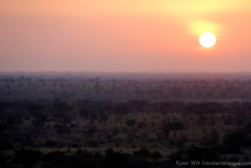 Africa, Kenya, Meru. Setting sun over the landscape at Meru National Park.