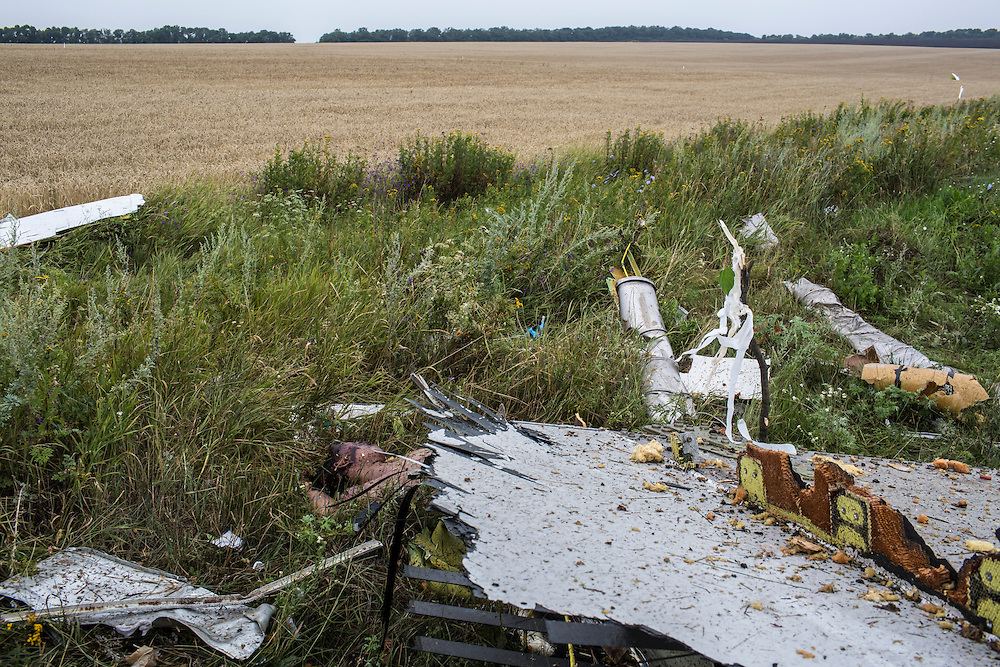 GRABOVO, UKRAINE - JULY 18: The body of a victim of the crash of Malaysia Airlines flight MH17 lie in a field on July 18, 2014 in Grabovo, Ukraine. Malaysia Airlines flight MH17 travelling from Amsterdam to Kuala Lumpur has crashed on the Ukraine/Russia border near the town of Shaktersk. The Boeing 777 was carrying 280 passengers and 15 crew members. (Photo by Brendan Hoffman/Getty Images) *** Local Caption ***