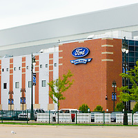 Ford Field, home of the Detroit Lions adjacent to Commerce Park in Downtown Detroit, MI  just before the start of the 2009 NFL Season.  (AP Photo/Julia Robertson)