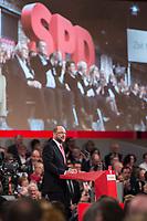 19 MAR 2017, BERLIN/GERMANY:<br /> Martin Schulz, SPD, haelt seine Rede vor seiner Wahl zum SPD Parteivorsitzenden und SPD Spitzenkandidat der Bundestagswahl, a.o. Bundesparteitag, Arena Berlin<br /> IMAGE: 20170319-01-038<br /> KEYWORDS: party congress, social democratic party, candidate, speech