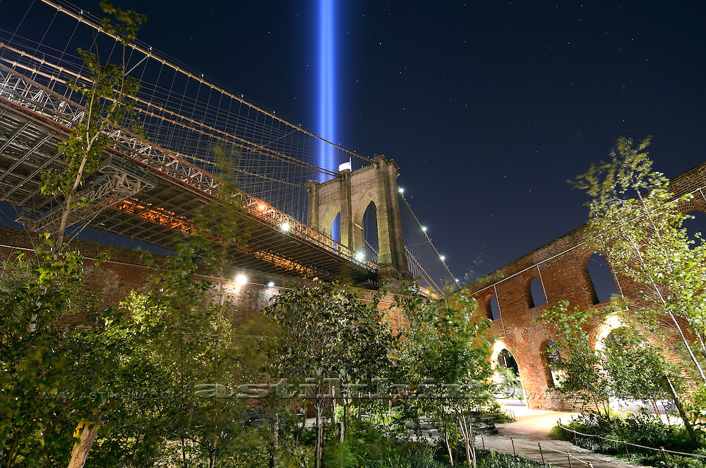 Tribute of Light. View from Triangle Garden, Brooklyn Bridge Park, New York City.