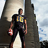 COLUMBIA, MO. - AUG. 13, 2004: University of Missouri quarterback Brad Smith stands by the university's famous columns on the Francis Quadrangle. Smith is the team leader and expected to be a Heisman candidate.