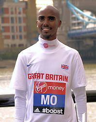 Mo Farah attends The Virgin London Marathon Photocall outside The Tower Hotel, St Katherine's Way, London on Tuesday 8 April 2014