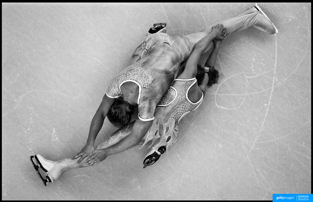 Jayne Torvill and Christopher Dean finish a routine during an exhibition at the Sydney Entertainment Centre, Sydney, Australia.