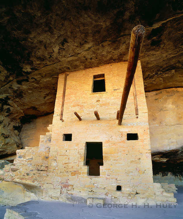 0405-1096C ~ Copyright: George H. H. Huey ~ Balcony House with two story room structure. Anasazi culture cliff dwelling in Soda Canyon, occupied from A.D. 1190-A.D. 1270's. It contained 35-40 rooms and kivas. Mesa Verde National Park, Colorado.