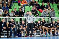 Tone Tiselj, head coach of Krim during handball match between RK Krim Mercator and Gyori Audi ETO KC (HUN) in 3rd Round of Group B of EHF Women's Champions League 2012/13 on October 28, 2012 in Arena Stozice, Ljubljana, Slovenia. (Photo By Vid Ponikvar / Sportida)