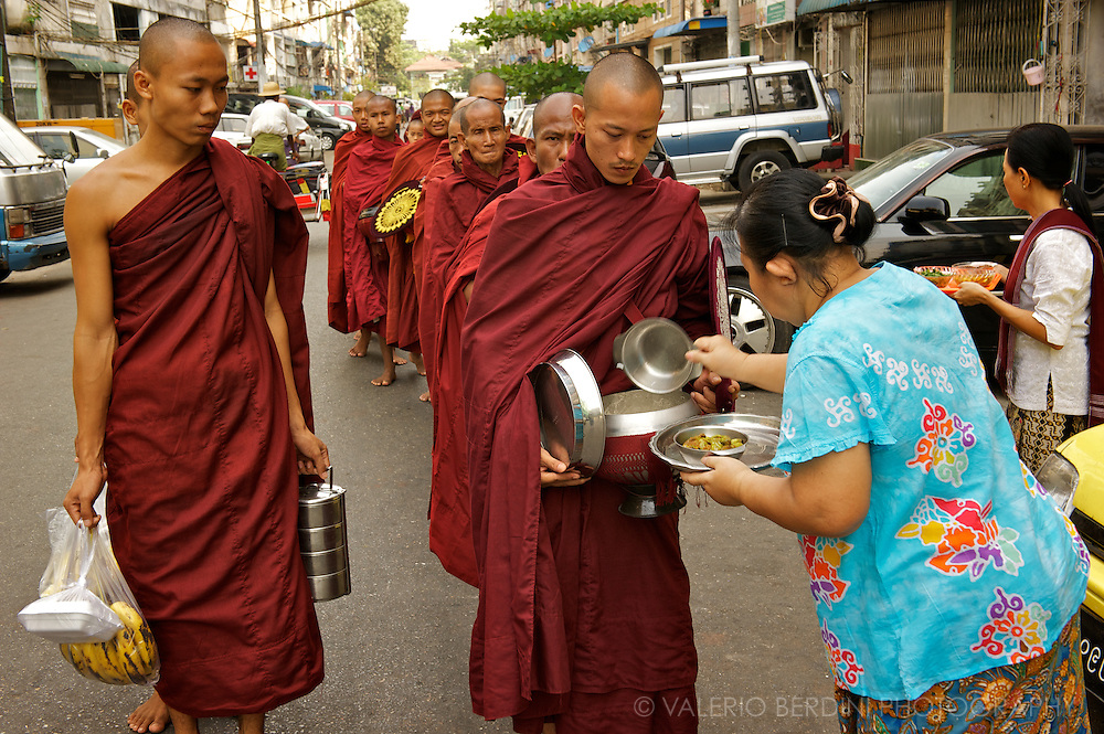 Monastics may eat only one meal a day, provided either by direct donations of food from lay supporters (pindacara). They are not allowed to take more then 'just enough'.