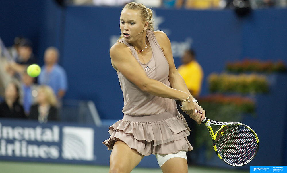Caroline Wozniacki, Denmark, in action against Kim Clijsters, Belgium,  during the Women's Singles Final at  the US Open Tennis Tournament at Flushing Meadows, New York, USA, on Sunday, September 13, 2009. Photo Tim Clayton.
