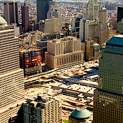 Aerial photo of Ground Zero World Trade Center area on 1 year anniversary