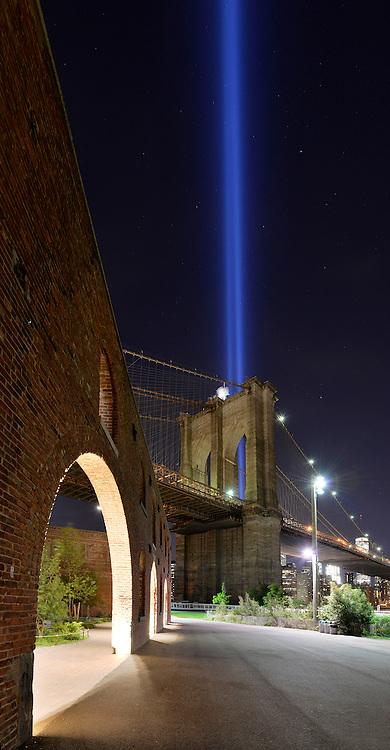 Tribute in Light from Brooklyn Bridge Park. 2016. Brooklyn, New York City.