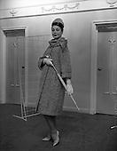 1960 - Fashions at Arnotts, black and white women's coat