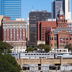 Amtrak's Texas Eagle is about to enter Dallas Union Station in Dallas, Texas, passing over the triple underpass near the site of the Kennedy Assassination.
