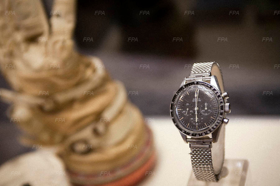 The original watch worn by astronaut Gene Cernan in the Apollo 17 mission in the Omega museum in Bienne, Switzerland.<br />