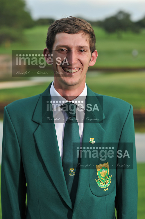 MALELANE, SOUTH AFRICA - Tuesday 17 February 2015, Matthew Spacey during the official flag raising ceremony of the annual Leopard Trophy, a two day test between teams of the South African Golf Association and the Scottish Golf Union, at the Leopard Creek Golf Estate.<br /> Photo Roger Sedres/ Image SA
