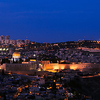Night view from the South of the Old City of Jerusalem, with the Western Wall, Temple Mount and Dome of the Rock at center-left.