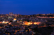 Night view from the South of the Old City of Jerusalem, with the Western Wall, Temple Mount and Dome of the Rock at center-left. WATERMARKS WILL NOT APPEAR ON PRINTS OR LICENSED IMAGES.